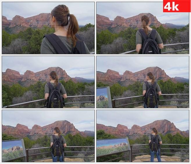 4K1283女旅行者慕名而来犹他州高山欣赏背影高清实拍视频素材