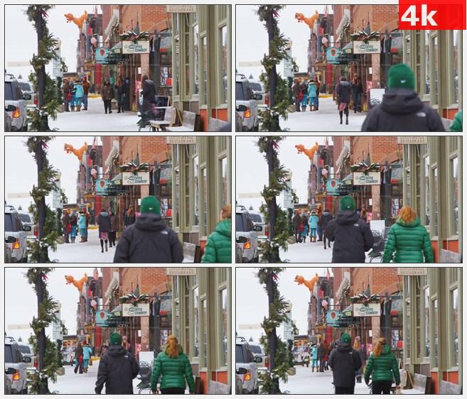 4K1291欧美雪景下雪的街头高清实拍视频素材