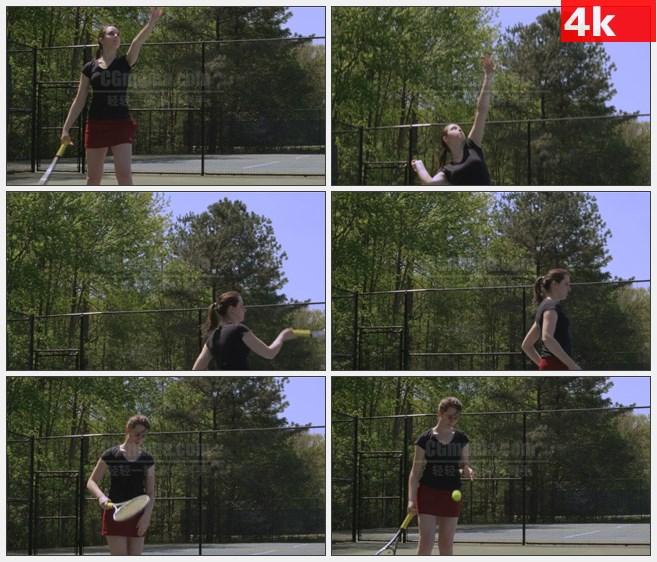 4K1423网球女孩打网球发球高清实拍视频素材