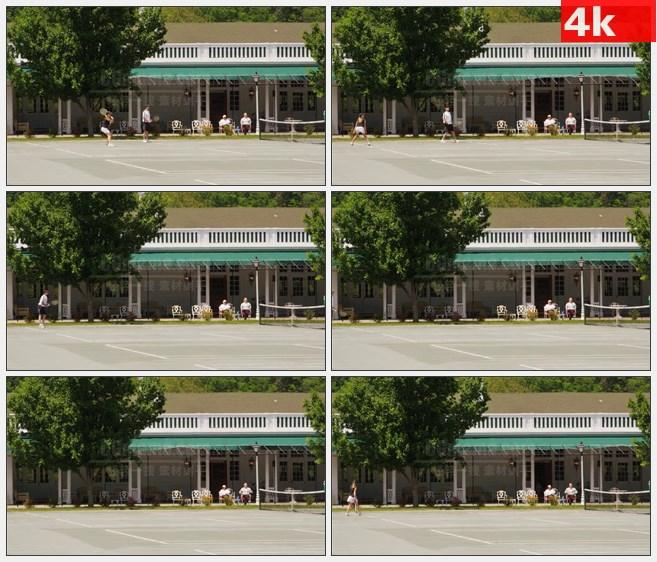 4K1424网球双打户外运动高清实拍视频素材