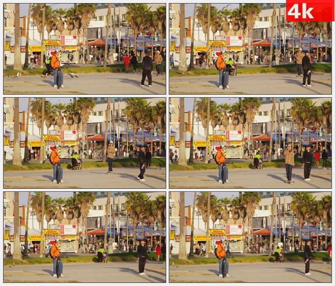 4K1426威尼斯海滩的自行车高清实拍视频素材