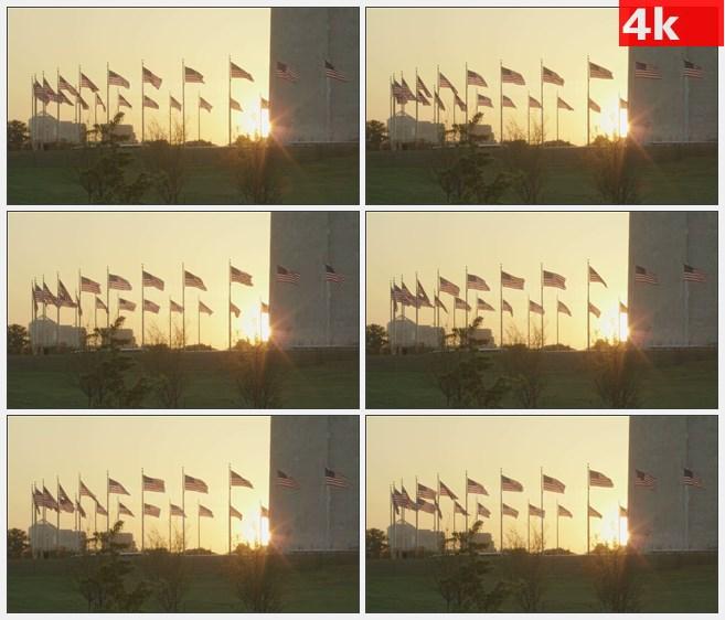 4K1435夕阳美国国旗华盛顿纪念碑高清实拍视频素材