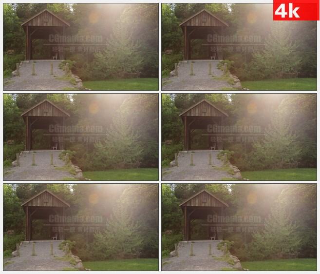 4K1437夕阳温暖阳光郊外小木屋高清实拍视频素材