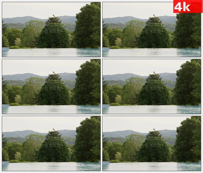 4K1346森林户外露天游泳池高清实拍视频素材