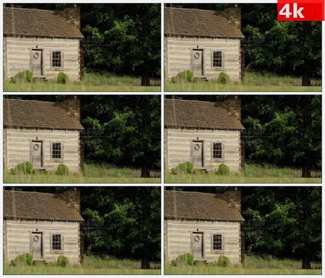 4K1349森林小屋草地自然风景高清实拍视频素材