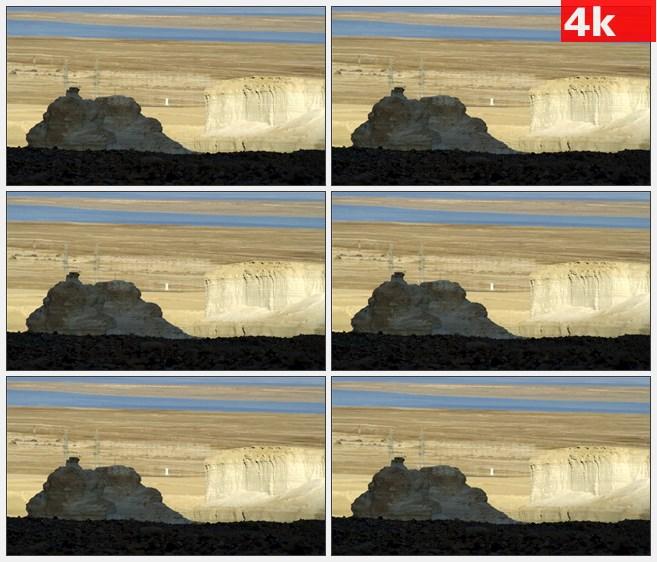 4K1352沙漠荒木岩石孤独的道路高清实拍视频素材