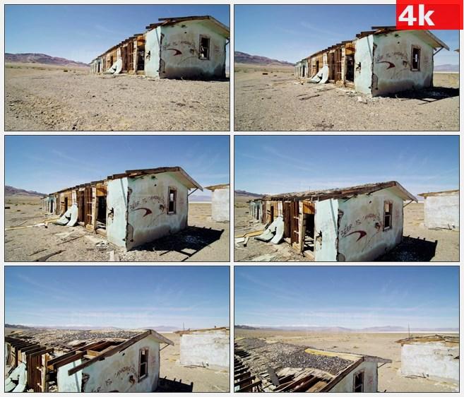 4K1354沙漠中被废弃的房屋家园高清实拍视频素材