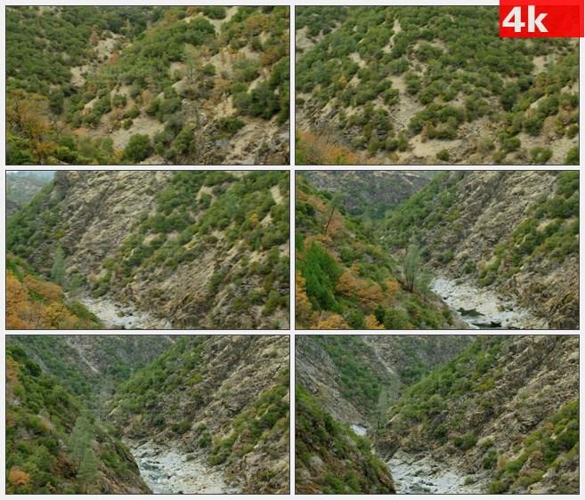 4K1359山谷岩石溪流树林高清实拍视频素材