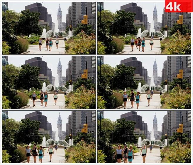 4K1377市政厅喷泉城市风光高清实拍视频素材