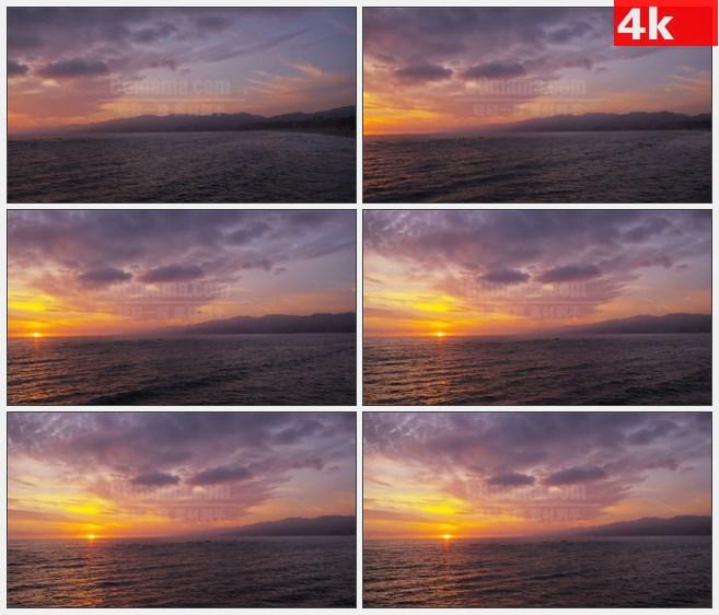 4K1389水上日落小船大海美景莫奈印象高清实拍视频素材