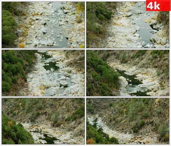 4K1392碎石鹅卵石溪流特写高清实拍视频素材