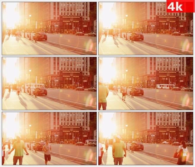 4K1399太阳耀眼人行道慢跑高清实拍视频素材