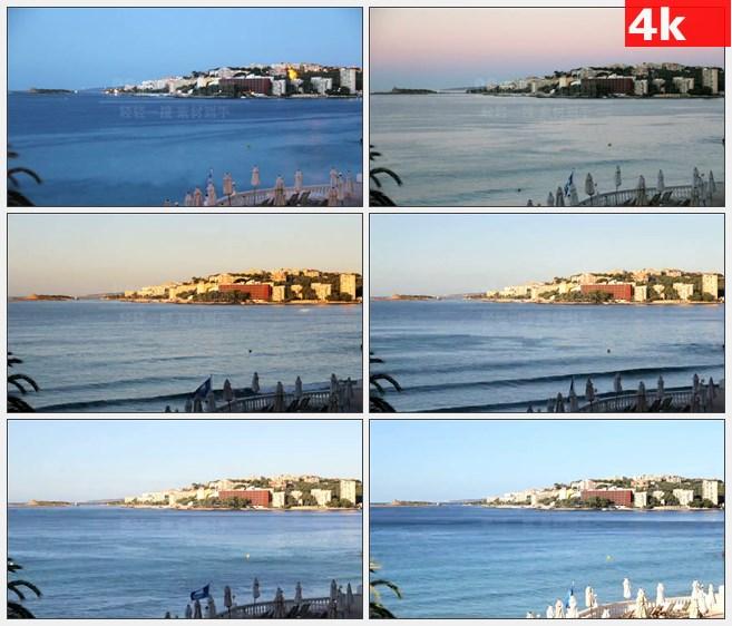 4K1419晚上海岸城市小岛时间流逝延时摄影高清实拍视频素材