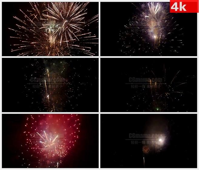 4K1421晚上烟火烟花绽放烟雾特写高清实拍视频素材