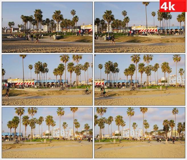 4K1429威尼斯海滩自行车路径高清实拍视频素材