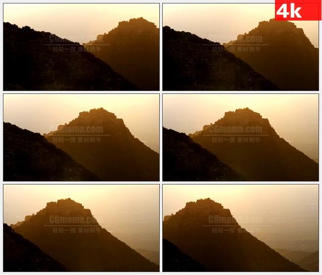4K1434夕阳金色阳光高山山峦高清实拍视频素材