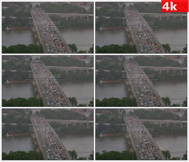 4K1445下雨暴雨跨江大桥交通车流高清实拍视频素材