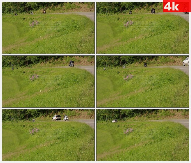 4K1448乡村道路草坡骑摩托车高清实拍视频素材