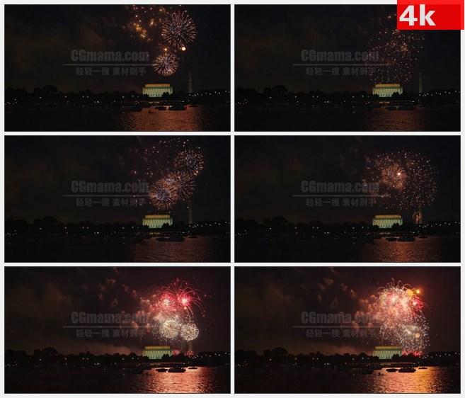 4K1478夜空烟火绽放华盛顿纪念碑林肯纪念堂高清实拍视频素材