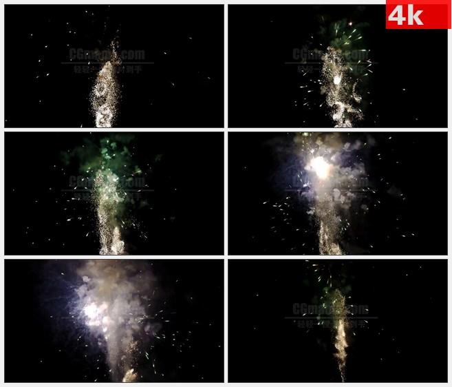 4K1482夜晚橙黄色旋转烟火烟花绽放特写高清实拍视频素材