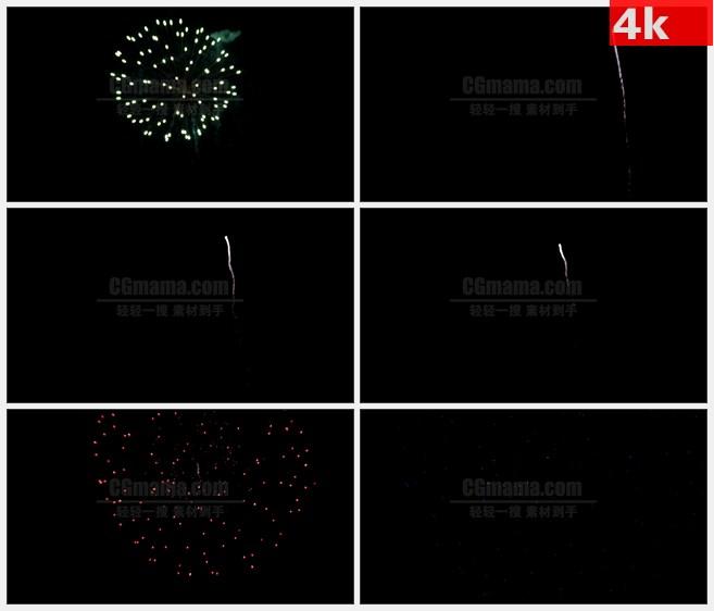 4K1492夜晚绿色球形烟火绽放特写高清实拍视频素材