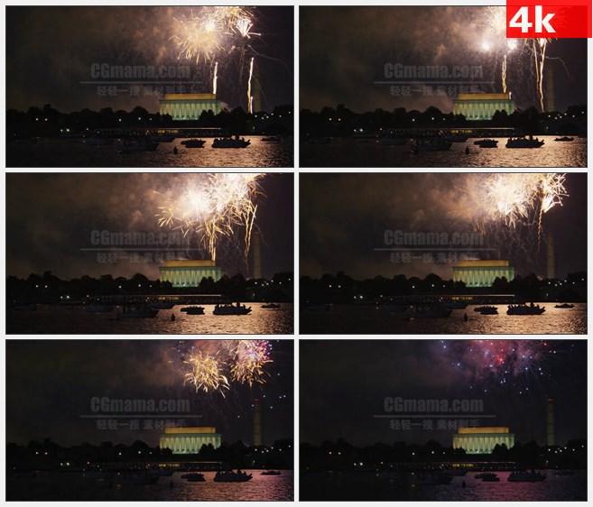 4K1498夜晚烟花闪烁绽放在林肯纪念堂高清实拍视频素材