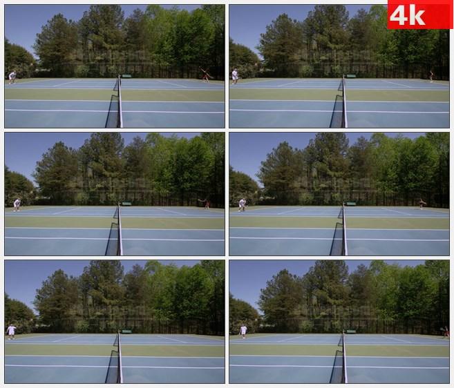 4K1504一对一网球运动打网球场地高清实拍视频素材