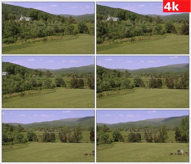 4K1525郁郁葱葱树木草原田园乡村高清实拍视频素材
