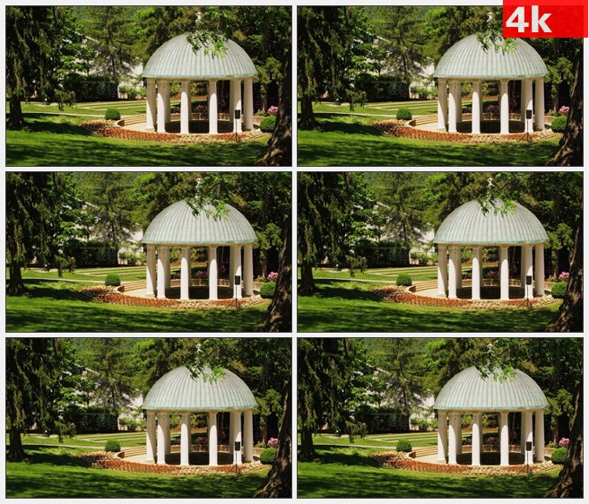 4K1529圆顶凉亭绿色草坪树木高清实拍视频素材