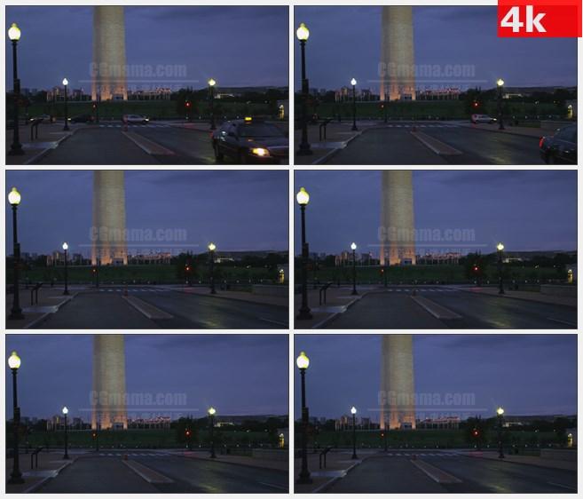 4K1530远处的华盛顿纪念碑出租车高清实拍视频素材