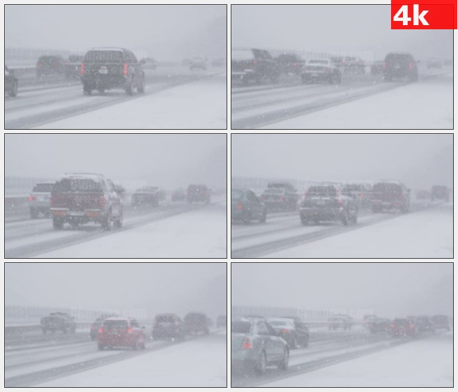 4K1533在暴风雪的公路行车交通高清实拍视频素材