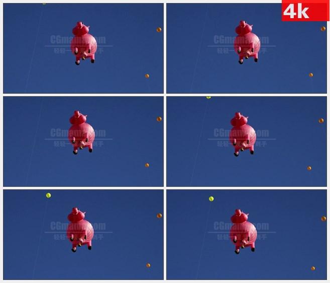 4K1549猪型热气球天空漂浮仰视高清实拍视频素材