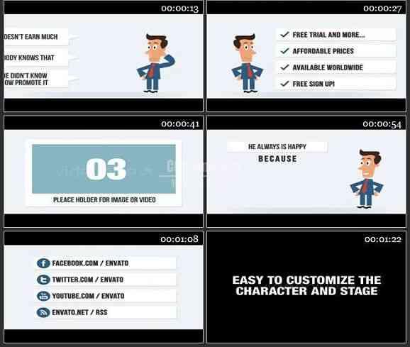 AE1151 卡通效果商业促销模板 图文展示