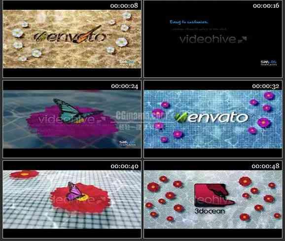 AE1172 游泳池飞舞的蝴蝶效果LOGO展示模板