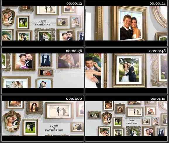 AE1249 金框婚礼相册模板