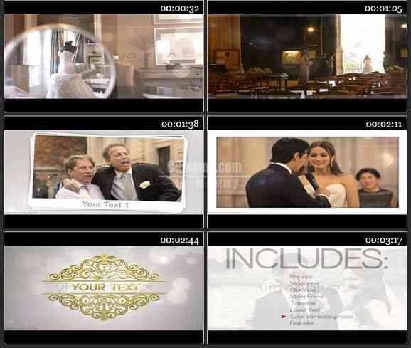 AE1254 光晕粒子效果婚礼片头 文本视频展示