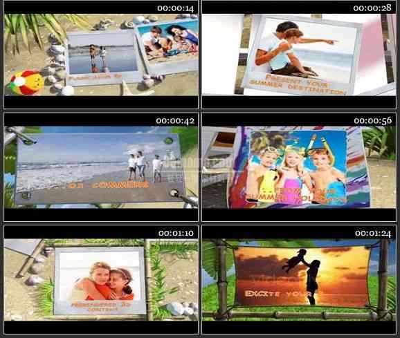 AE1258- 卡通效果夏天海滩相片展示模板
