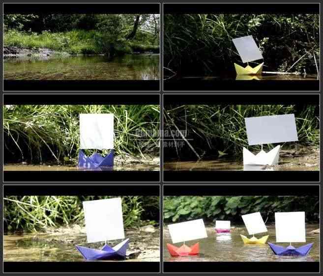 AE2553-漂流的纸船 河流实景 相册图片展示