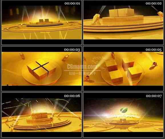 AE1272 金黄色背景电视包装LOGO展示模板