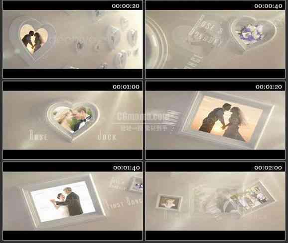 AE1273 心型相框婚礼相册模板