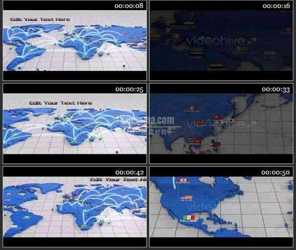 AE1278 世界网络连接 动画