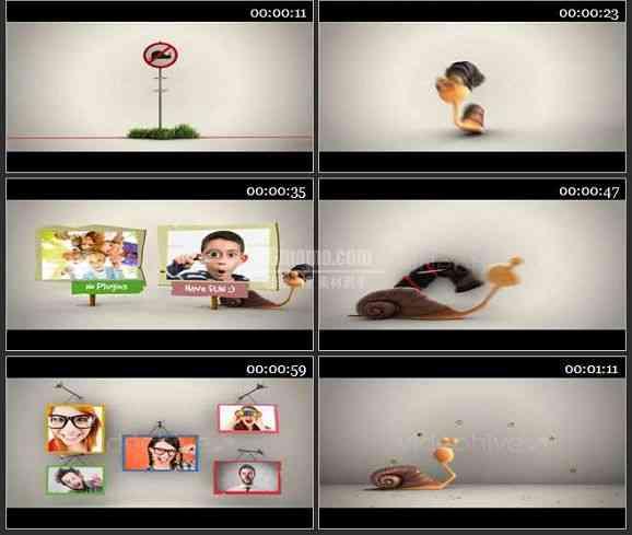AE1319 儿童类有趣的卡通蜗牛相片展示模板