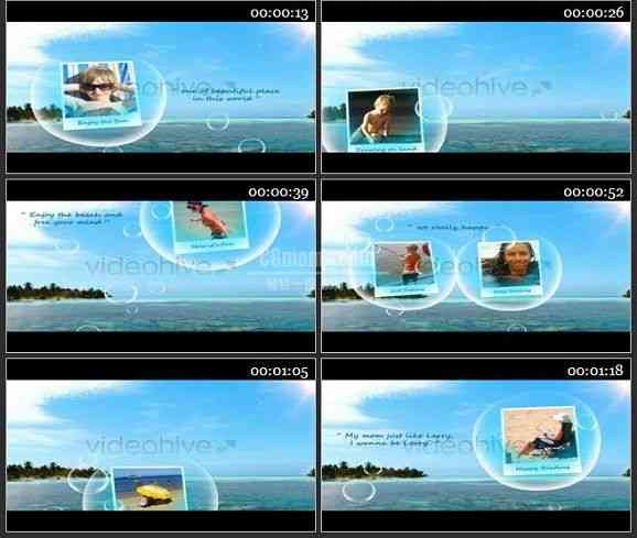 AE1330 有趣的泡泡效果儿童相册模板