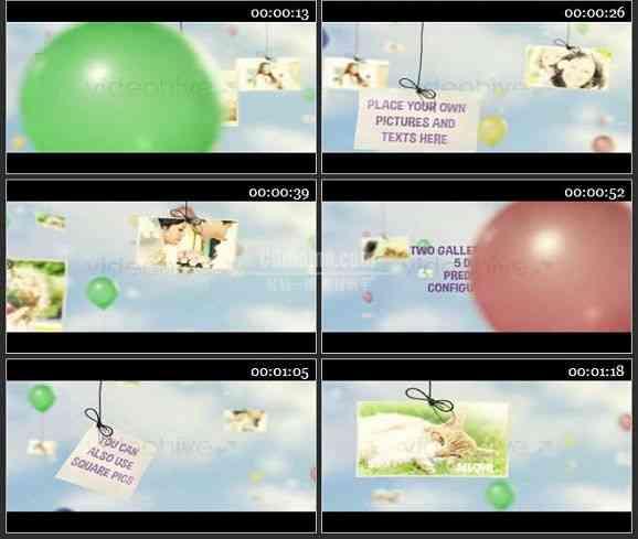 AE1336 气球吊相片效果儿童相册模板