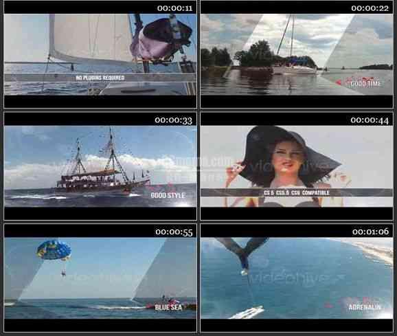 AE1424 海滩风光旅游度假电影模板 图片视频展示