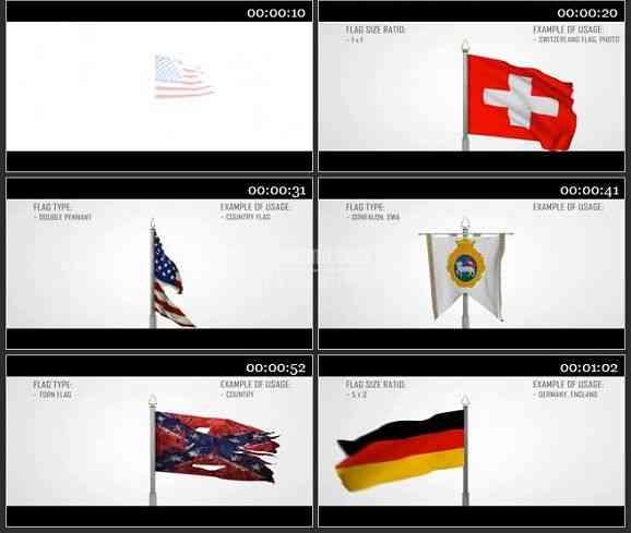 AE1437 3D国旗转动电视包装模板