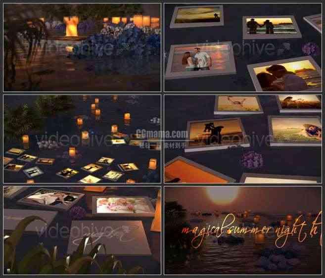 AE2582-神奇的夏季河畔夜景 漂流灯 照片展示
