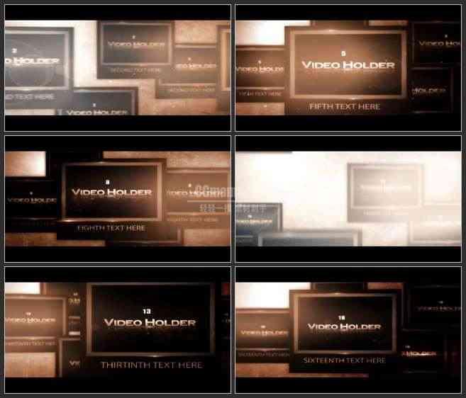 AE2591-暗色调多屏幕展示 图文视频展示