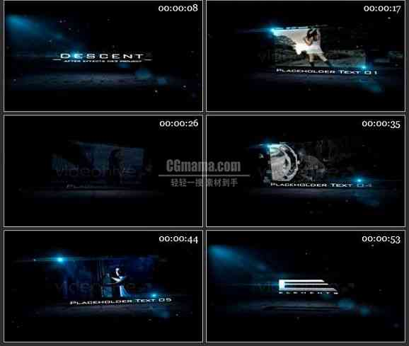 AE1571 蓝色光源电影片头 图文展示