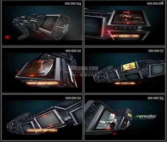 AE1582 科技感机械屏幕视频模板 图文展示